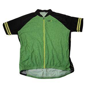 Louis Garneau Green Grass Pattern Full Zip Cycling Jersey - Mens 2XL