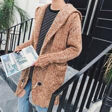 Mens Long Sleeves Loose Knitted Cardigan Sweater Coats Tops Hooded Casual Jacket