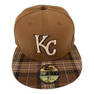 Mens MLB New Era 59Fifty Fitted Cotton Ballcap Kansas City Royals Hat 7-1/8 New