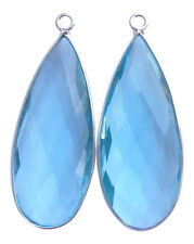 Sky Blue Coloured Quartz and Sterling Silver Faceted Long Pear Shape Pendants