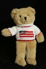 """Applause 1988 Vintage 14"""" BISCUIT Teddy Bear in Flag Sweater"""