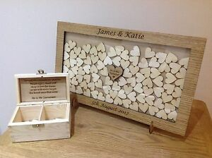 Personalised drop box Oak frame Wedding Guest Book