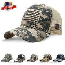 Mens Baseball Cap USA Army American Flag Tactical Trucker Hats Mesh Hat Visor
