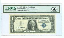 1957 ONE DOLLAR SILVER CERTIFICATE STAR (*) NOTE PRIEST/ANDERSON PMG-66 GEM UNC.