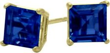 1.20Ct. Created 5mm Square Sapphire 14K YG Stud Earrings