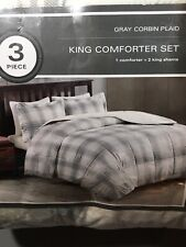 JLA Home Gray Corbin Plaid King Size Comforter Set New