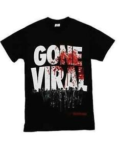 Authentic The Walking Dead Gone Viral Virus Blood Splatter Zombie T Shirt 2Xl