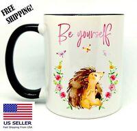 Be Yourself, Hedgehog, Birthday, Christmas Gift, Black Mug 11 oz, Coffee/Tea