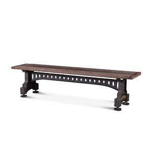 """80"""" L Bench Rustic Reclaimed Solid Teak Wood Industrial Recycled Iron Base"""