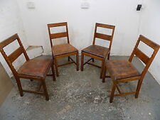 four,vintage,1930's,oak,dining,chairs,4 chairs,dining room,leather,seats,