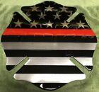 18 Steel Fireman Patch Badge American Flag Red Line Fire Dept Logo Metal Sign!