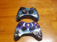 Lot of 2 Microsoft Xbox 360 Spartan Halo 3 & Blue Halo 4 Controllers OEM TESTED