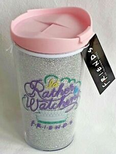 I'd Rather Be Watching Friends - Plastic Travel Cup - Glitter -502ml - Brand New