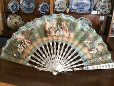 FINE ANTIQUE FRENCH 18TH CARVED MOTHER OF PEARL STICKS PAINTED FIGURAL SCENE FAN