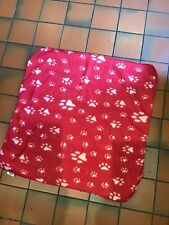 Red Puppy Dog Fleece Blanket With Cream Pawprints Approx 75 X 75 Cm