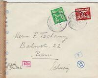 NETHERLANDS : WW2 GERMAN DKW CENSORED COVER TO BERN, SWITZERLAND (1941)