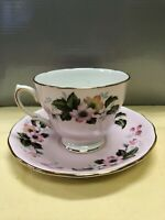 Vintage Colclaugh Teacup and Saucer # 8240 Light Pink With Gilt Edges