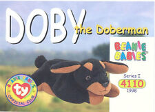 TY Beanie Babies BBOC Card - Series 1 Common - DOBY the Doberman - NM/Mint