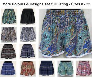 LADIES SHORTS Printed Design Womens Size 8 10 12 14 16 18 20 22 Plus Lace Trim