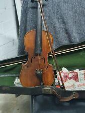 Alte  Geige  Violine  mit  Bogen  und  Koffer  zum  herrichten
