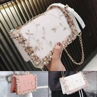 Ladies Quilted Chain Bag Pu Shoulder Bag Luxury Crossbody Tote Waist Handbag UK