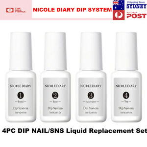 NICOLE DIARY Dipping Powder Liquid Kit Replacement TOP BASE ACTIVATOR BOND SNS