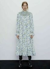 Zara Blue & White Rustic Floral Linen Dress - SOLD OUT - Size XS. Brand New. Cur