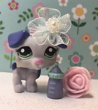 Authentic Littlest Pet Shop # 2301 Purple Blue Jack Russell Dog Green Eyes