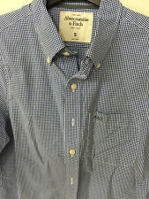 Abercrombie A&F mens Blue check S muscle-fit button-down shirt NWOT was $78.00