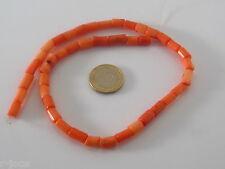 1 filo di tronchetti piccoli in corallo bambù rosa 8x6 mm circa lungo 42 cm