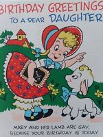1949 Vtg MARY w MOVING Little LAMB Daughter BIRTHDAY GREETING CARD