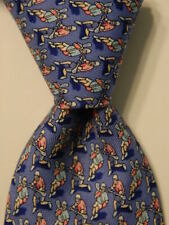 VINEYARD VINES Martha's Boys Youth Silk Necktie Luxury LACROSSE SPORTS Blue EUC