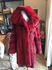 Zandra Rhodes Red/ Black Dipped Mink With Big Hood/collar  Fab ! 6