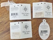 Lot of 4 Vintage Christopher Radko Christmas Tree Ornament Hang Tags