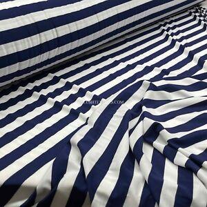 "1"" Navy & White Sailors Stripe Cotton Jersey Stretch Dress Fabric French Navy"
