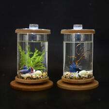 Cylinder Rotatable Aquarium Glass Betta Fish Tank Office Home Desktop Decor