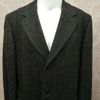 Vintage Gray Wool Herringbone Overcoat Coat Mens 38 R Single Breasted