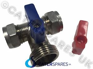 """3/4"""" TEE PIECE WASHING MACHINE ON / OFF VALVE OUTLET HOSE CONNECTOR 15MM X 3/4"""""""