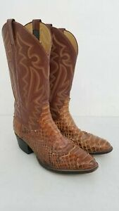 Panhandle Slim Python & Leather Western Boots Men's Size 9.5 D