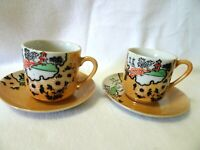 Vintage Demitasse Cups and Saucers-Japan-Lusterware-Asian Influence-Flawed