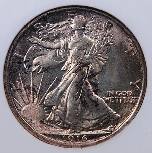 1916 WALKING LIBERTY HALF DOLLAR NGC MS 63 VERY ORIGINAL FIRST YEAR OF ISSUE