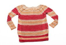 New Free People Orange & Red Stripe Knit Pullover Sweater Knit Top Size S Small