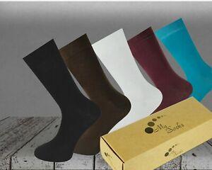 MYSOCKS 5 Pairs Multi Colour Plain Combination Socks Gift Box