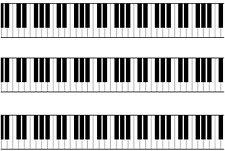 Piano Keys / Keyboard Pre Cut A4 Edible Icing Cake Side Strips / Ribbon 3 strips