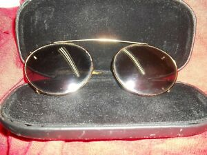 GOLD-TONE CLIP-ON OVAL-STYLE SUNGLASSES