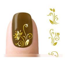 Nagelsticker Tattoo Nail Sticker Fingernagel Aufkleber Water Gold Blume NEU