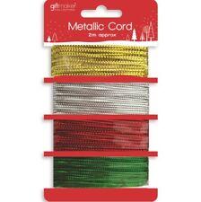 Navidad 4 Piezas 2M Metálico Cable Tenza Papel Regalo Dorado Rojo Plateado Lazo