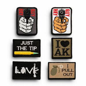 HEY GUY AK Gun Grenade Love Embroidered  Hook & Loop Patch Badge Fabric Craft