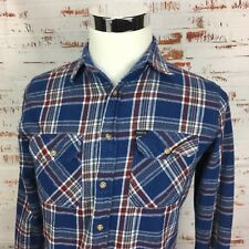 Matix Mens Flannel Button Shirt Small S Long Sleeve Skateboarding Blue