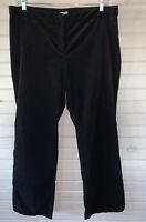 J. Jill Women's Sz 18 Black Velvet Flat Front Pockets Zipper Stretch Pants EUC